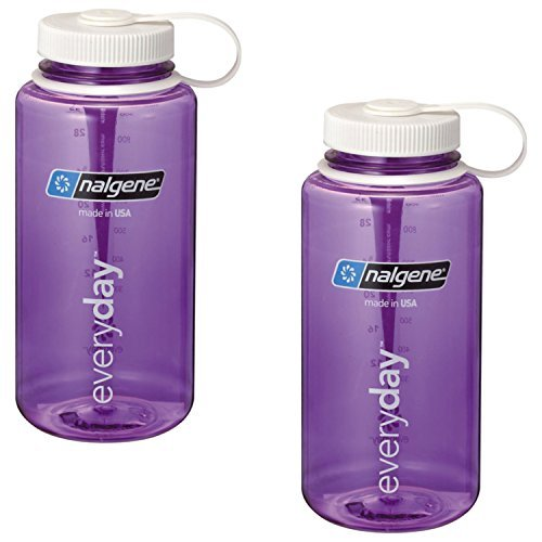 Nalgene 32oz Wide Mouth Purple / White Lid - Everyday Bottle (Tritan) - 2 Pack