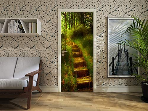 3D Fairy Tale Forest Path Door Stickers Wall Murals Wallpaper for Home Bedroom