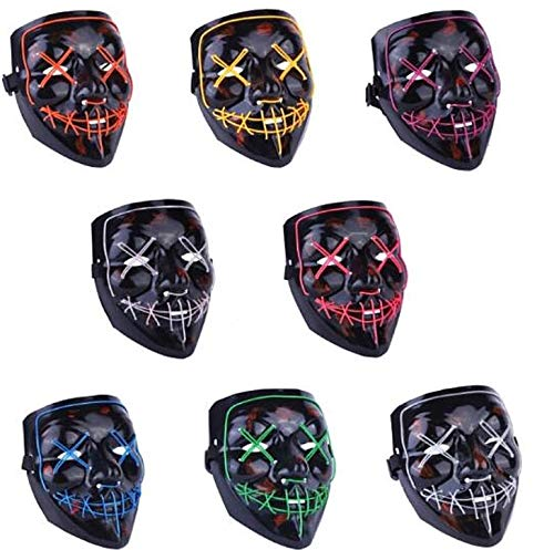Moonideal Halloween Light Up Mask EL Wire Scary Mask for Halloween Festival Party