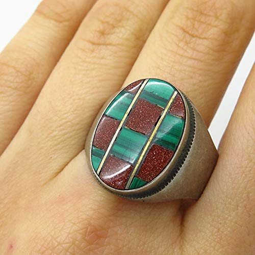 VTG 925 Sterling Silver Malachite Gem&Goldstone Inlay Wide Mens Ring Size 12.5 Jewelry by Wholesale Charms