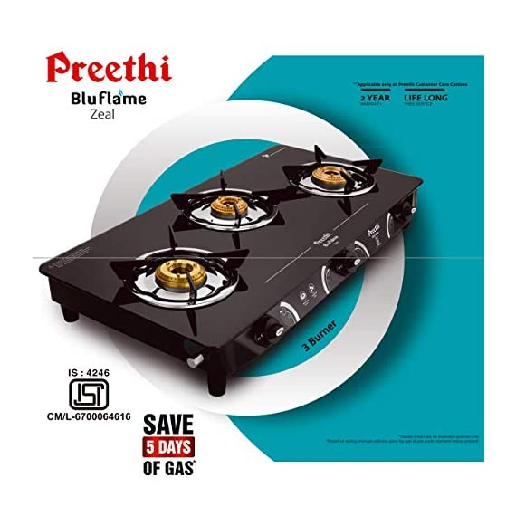 Preethi - GTS124 Zeal Glass Top 3 Burner Gas Stove, Manual Ignition, Black 4