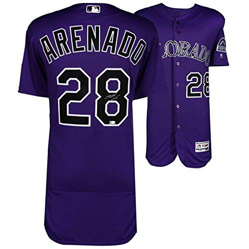 NOLAN ARENADO Colorado Rockies Autographed Majestic Purple Authentic Jersey ()