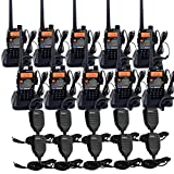 Retevis RT-5RV Two Way Radio VHF/UHF Radio 128CH Dual Band 2 Way Radios VOX FM Long Range Walkie Talkies with Speaker Mic and Earpiece (10 Pack)