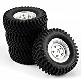 SkyQ 100mm RC Tires Tyre and Aluminum Wheels for 1/10 Scale HPI Redcat Climbing Car Silver 4pcs