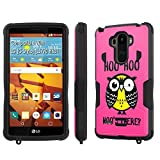 LG [G Stylo] Tough Case [SlickCandy] [Black/Black] Hybrid Combat [Kick Stand] [Shock Proof] Phone Case - [Hoo is There Owl] for LG [G Stylo] [LS770 H631]