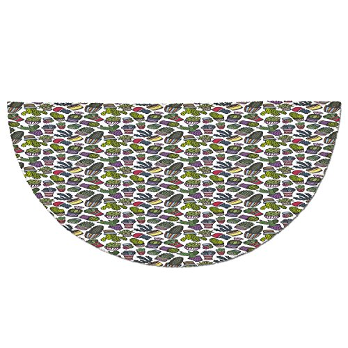 Cheap  Half Round Door Mat Entrance Rug Floor Mats,Cactus,Latin American Influenced Pot Designs..