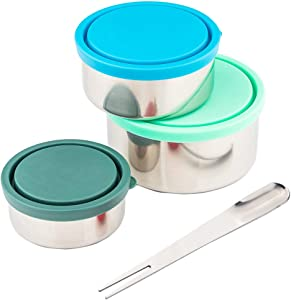 Timiuu Stainless Steel Lunch Box Food Storage Containers with Leak-proof Lids | Reusable Snack Food Nesting Containers for Kids or Adults | Set of 3, Eco-Friendly, BPA Free | 5oz, 8oz, 16oz