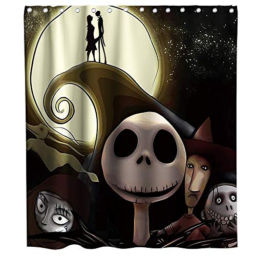 Disney Nightmare Before Christmas Moonlight Madness Theme Fabric Happy Halloween Shower Curtain Sets Kids Bathroom Halloween Decor with Hooks Waterproof Washable 70 x 70 inches Red Black and White