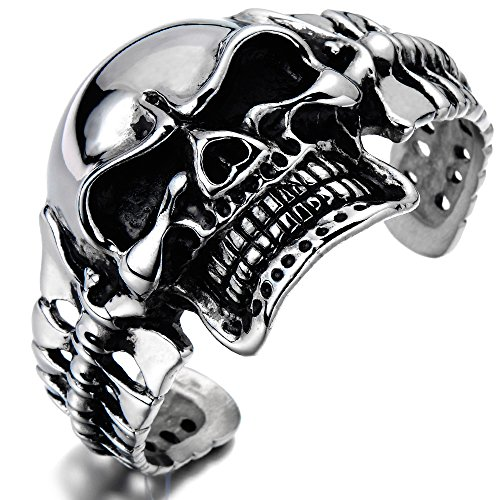 COOLSTEELANDBEYOND Heavy and Study Mens Stainless Steel Biker Skull Cuff Bangle Bracelet Silver Black Two-tone ()