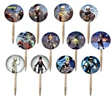 FORTNITEMARES Cupcake Picks Double-Sided Images Cake Topper -12, Video Game Truck Party Fort Nightmares Halloween