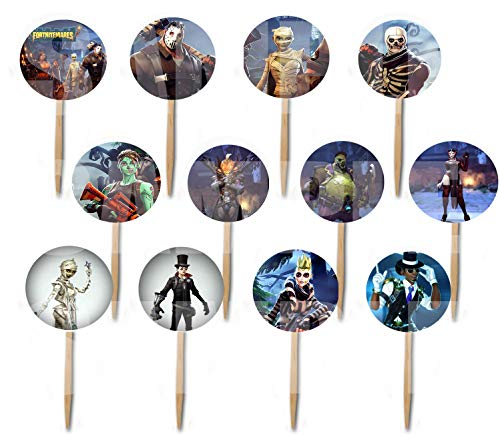FORTNITEMARES Cupcake Picks Double-Sided Images Cake Topper -12, Video Game Truck Party Fort Nightmares Halloween -