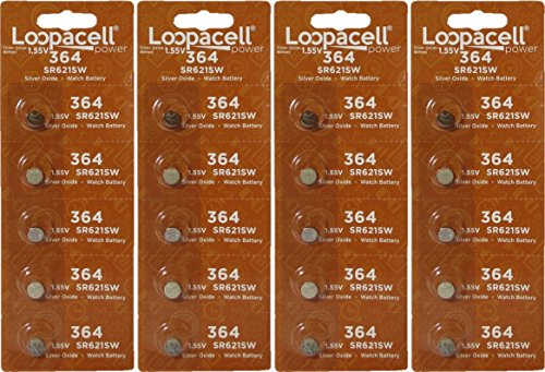 Loopacell Watch Battery Button Cell SR621SW SR-621SW 364 (Pack of 20)