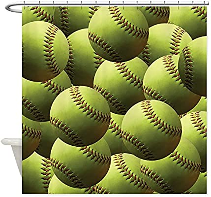 Amazoncom Cafepress Softball Wallpaper Decorative Fabric Shower