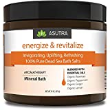ASUTRA ENERGIZE & REVITALIZE - 100% Pure Dead Sea Bath Salts/Invigorating, Uplifting, Refreshing/Healing Aromatherapy/Organic Essential Oils of Peppermint, Ginger, Lemon & Rosemary - 16 ounces