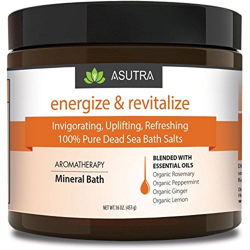 ASUTRA ENERGIZE & REVITALIZE - 100% Pure Dead Sea Bath Salts/Invigorating, Uplifting, Refreshing/Healing Aromatherapy/Organic Essential Oils of Peppermint, Ginger, Lemon & Rosemary - 16 (Aroma Bath Salt)
