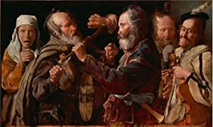 The high quality polyster Canvas of oil painting 'The Musicians' Brawl, about 1625 - 1630 By Georges de La Tour' ,size: 16x27 inch / 41x68 cm ,this High Definition Art Decorative Canvas Prints is fit for Kitchen gallery art and Home gallery art and Gifts