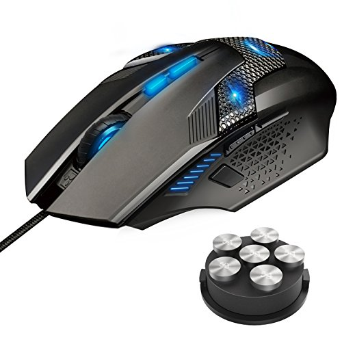 TeckNet Gaming Mouse, Wired Computer Gaming Mouse with Programmable Buttons, 7000DPI, Breathing Backlit LED, 8 Buttons, Ergonomic Grip Game Mice for PC (Genius Ergonomic Mouse)