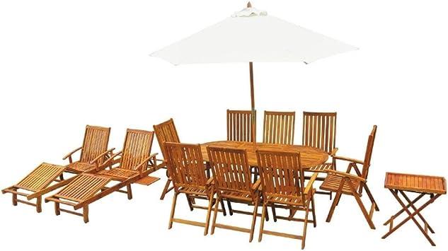 LXDDP Sombrilla jardín, Juego Comedor al Aire Libre Madera Acacia sólida Sillas Mesa 13 Piezas Tumbona: Amazon.es: Deportes y aire libre