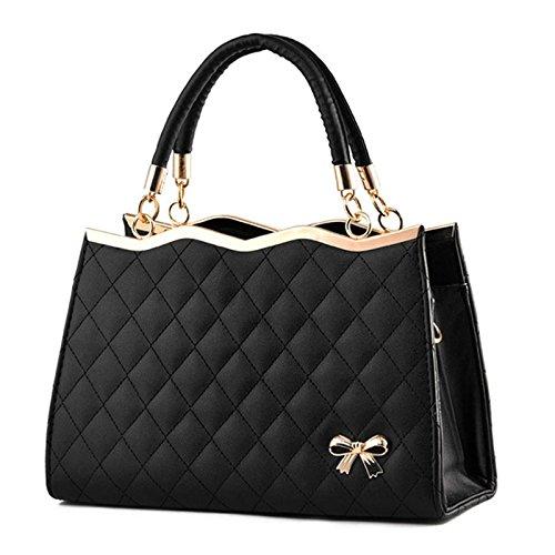 AASSDDFF Mujeres Messenger Bags Ladies Tote Small Shoulder Bag Bolso de Crossbody de la Marca de Las Mujeres con Bufanda Lock Designer Bolsa, Negro Negro