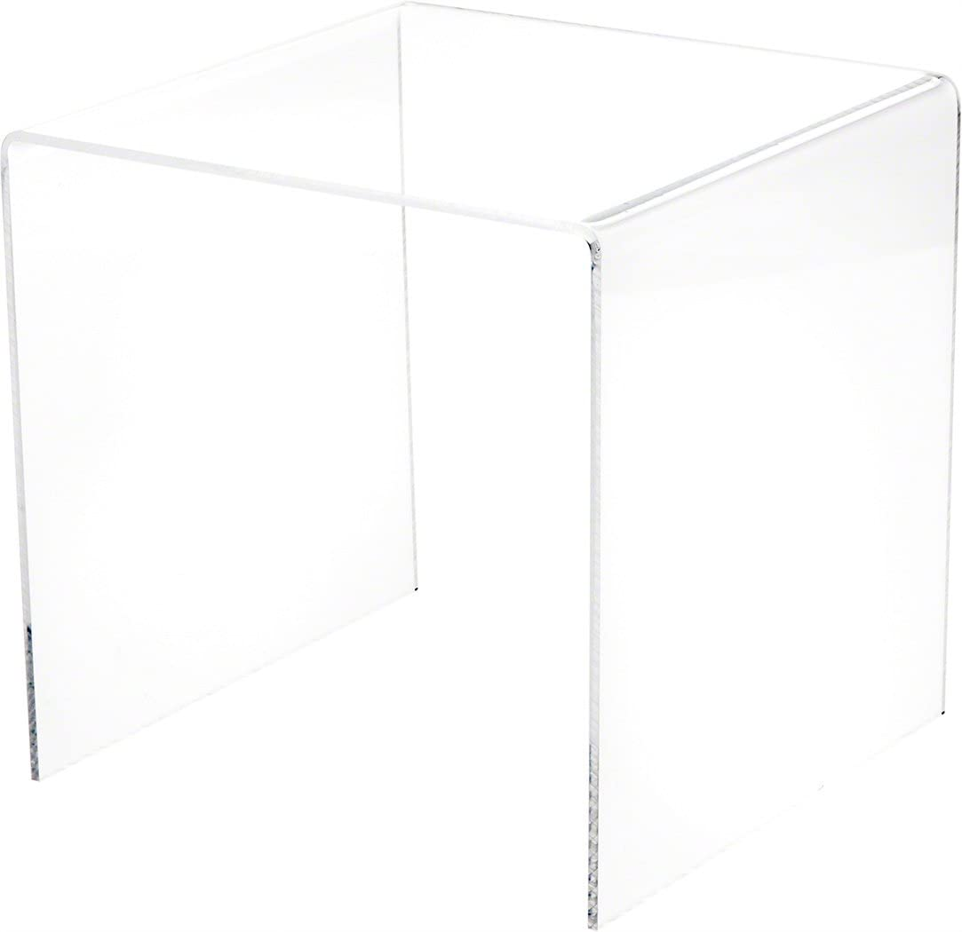 "Plymor Clear Acrylic Square Display Riser, 7"" H x 7"" W x 7"" D (1/8"" Thick)"