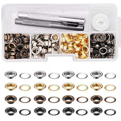 BWIN 1/4 inch Grommet Kit, 200 Sets 4 Colors Plain Grommets and Washers Eyelets with 3 Pieces Installation Tools for Leather Craft Making Clothing Repair and Decoration