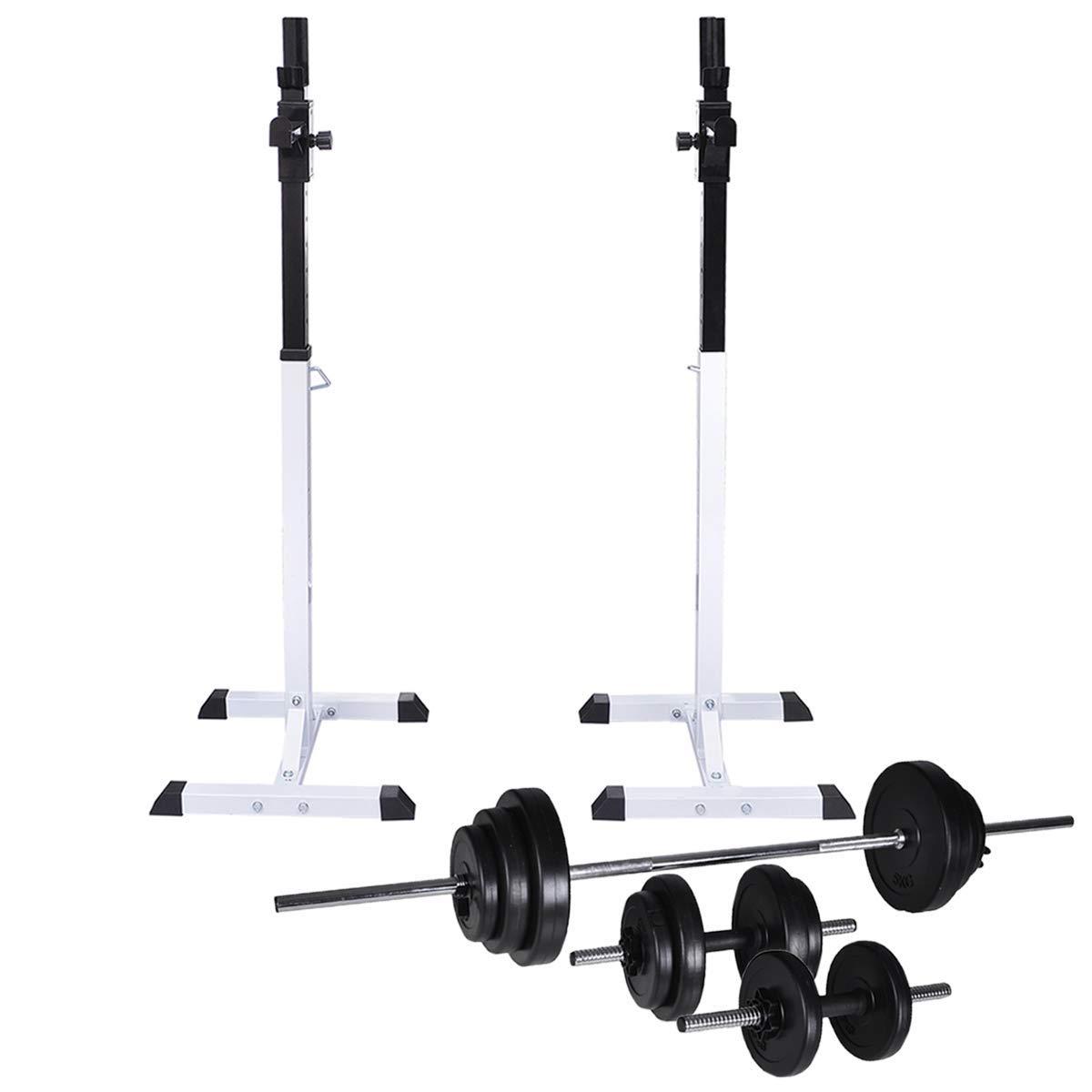 VidaXL Kniebeugenständer mit Hantel Set 30,5kg Langhantelständer Hantelablage