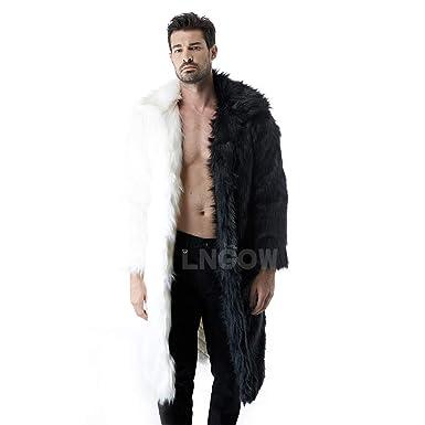 6b6165ec024 LNGOW Winter Warm Overcoat for Men Faux Fur Coat Long Thicken Soft Jacket  Outerwear (Black