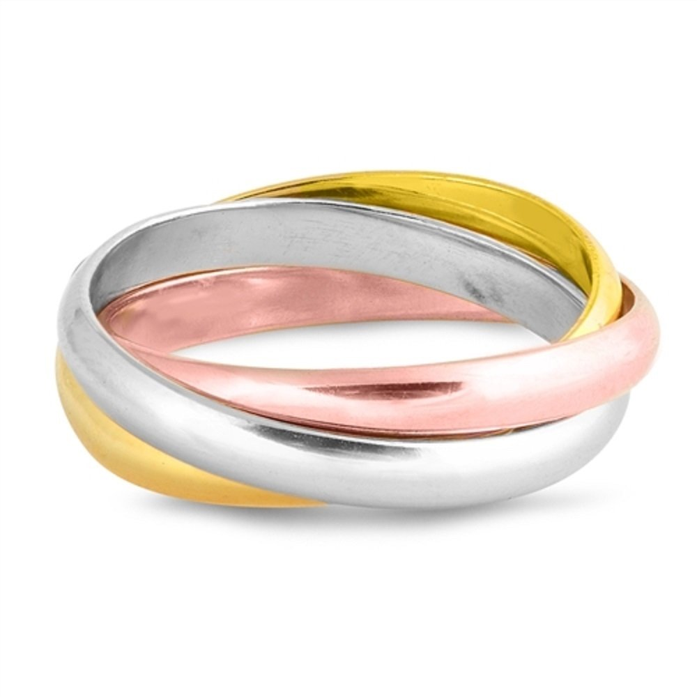 Princess Kylie 925 Sterling Silver Triple Gold Band Set of 3 Ring