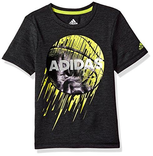- Adidas Boys' Little Short Sleeve Moisture-Wicking Graphic T-Shirt, Adi Black Heather, 5