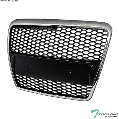 Topline Autopart Chrome/Black RS-Honeycomb Mesh Front Hood Bumper Grill Grille ABS For 05-07 Audi A6 / 06-07 S6 C6