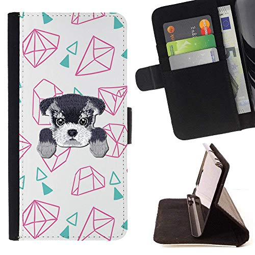[ Schnauzer ] Embroidered Cute Dog Puppy Leather Wallet Case LG V30 [ Diamond Rock Stone Pattern ]