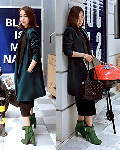 Bootie Heels Tomwell Heels Green Ankle Sexy Block Boots Chelsea Nubuck Winter Women Shoes High Warm Fashion Casual 6q861
