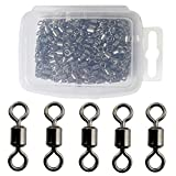 #9: Jumping Fish 200PCS Fishing Rolling Swivels Strong Fishing Tackle Accessories Line to Hook Connectors Size 2 4 6 8 10