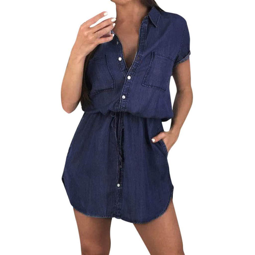 ❤Women's Short Sleeve Denim Dresses, Ladies Summer Casual Pocket Button Boyfriend Dress