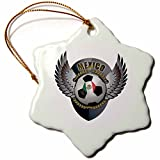 3dRose orn_158041_1 Mexico Soccer Ball with Crest Team Football Mexican-Snowflake Ornament, Porcelain, 3-Inch