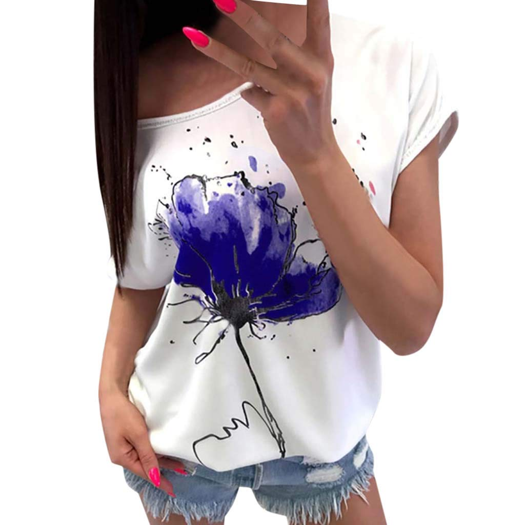 Women's Shirt Short Sleeve Floral Print T-Shirt Comfortable Casual Tops O-Neck Casual Loose Top Blue