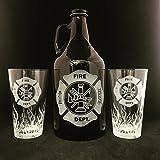 Fire Department, Beer growler, Fireman Gift, Fireman gifts, Firefighter gifts, Firefighter gifts, Flames, Beer stein, Beer mug, Firefighter retirement, Firefighter graduation, Fireman retirement gift