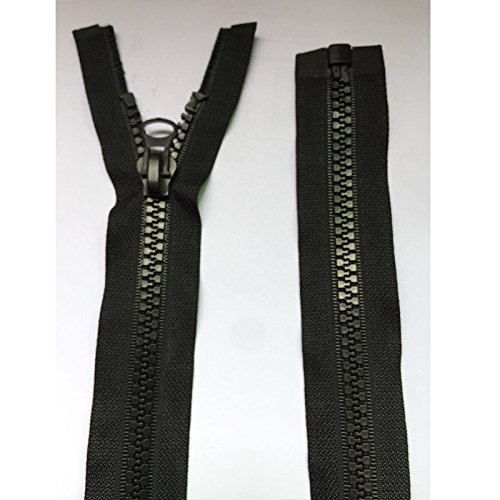 25 inches Zipper Kit 8# 1PC Separating Jacket Zippers for Sewing Coats Jacket Zipper Black Molded Plastic Zippers Bulk ()