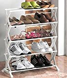 Sterling 5 Layer Foldable Shoe Rack Unbreakable Plastic for 15 Shoe Pair (White) 59 x 15 x 66 cm