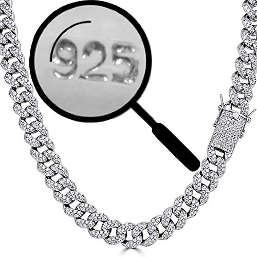 (Harlembling Solid 925 Sterling Silver Men's Iced Out Miami Cuban Chain - Heavy 200-320 Grams 15mm Cuban Link - ICY Bust Down (22))