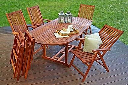 Conjunto Muebles de Jardín 6 Sillas Comedor Mesa Plegable ...