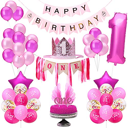 1st Birthday Decorations Girl | Girls First Decor Party Supplies Set | Princess Pink n Gold Theme Kit | Includes High Chair Decoration Supplies Set, Happy Birthday Banner, 1 Year Tiara Crown Hat, ONE Cake Topper, Angle Wings Cake Flag, Confetti Foil and Latex Balloons ()