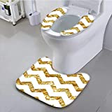 Philiphome Universal Toilet seat Zigzag Pattern Chevron Minimalist Background Simplistic Modern Design Gold White Cushion Non-Slip