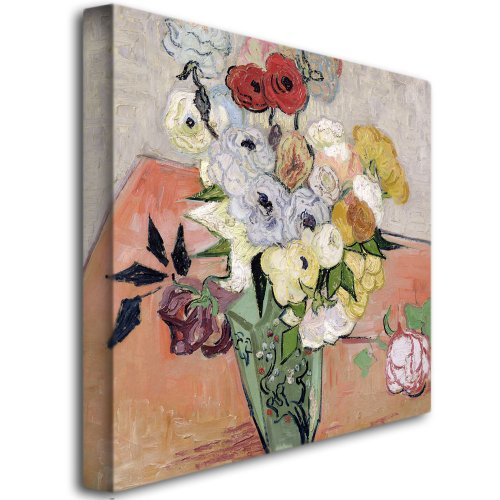 Roses and Anemones, 1890 by Vincent van Gogh, 35 by 35-Inch Canvas Wall Art