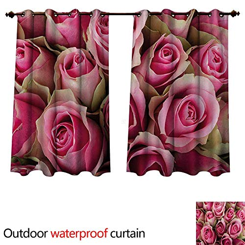 WilliamsDecor Rose Outdoor Curtains for Patio Sheer Blooming Pink Roses Festive Bridal Bouquet Romance Sweetheart Love Valentines W63 x L72(160cm x 183cm)