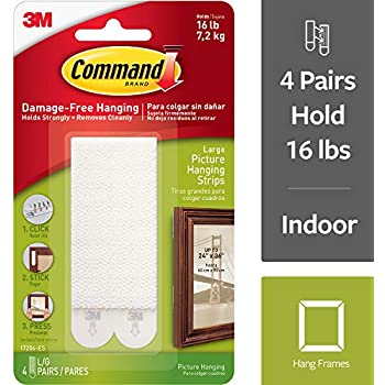 Command Large Picture Hanging Strips, Holds 16 pounds, Hang without Tools, 4 Pairs