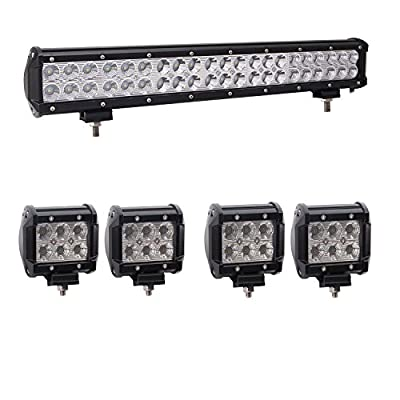 Bangbangche 20'' 126W Flood Spot Combo LED Light Bar, 4X 4'' 18W Flood Led Pods Lights for Jeep Boat Truck, 1 Year Warranty by Bangbangche