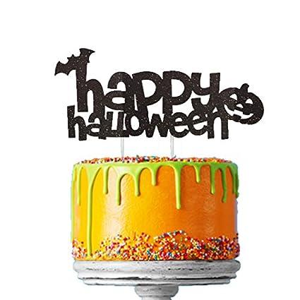 Happy Halloween cake topper nbsp  ndash  nbsp pipistrello nero con  brillantini e zucca Happy 8353b30875c8