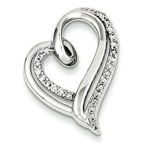 Argent Sterling diamant pendentif coeur-JewelryWeb