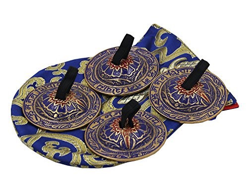 DharmaObjects Belly Dancing OM Namah Pro Finger Zills or Cymbals (Blue) (Belly Dance Zills)